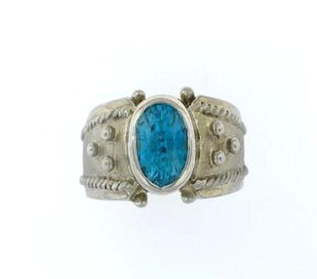 14kt White Gold Blue Zircon Ring                                 A34424