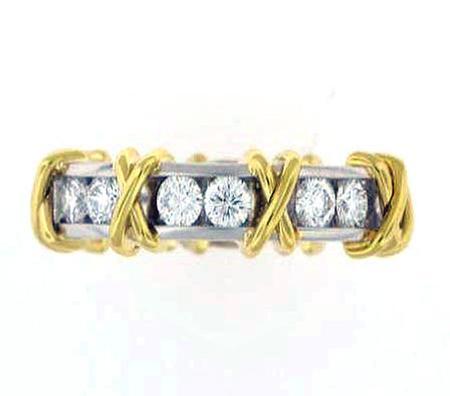 18k Yellow Gold Platinum Diamond Band                         F4889