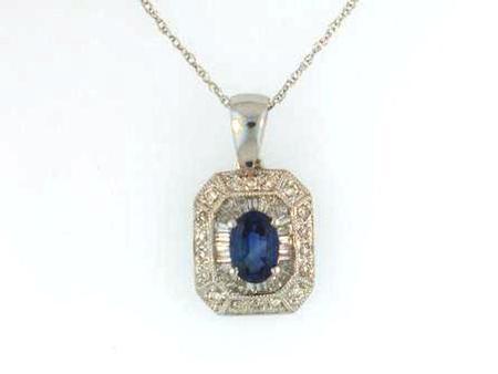 14k White Gold Blue Sapphire Diamond Pendant with chain   41-0003