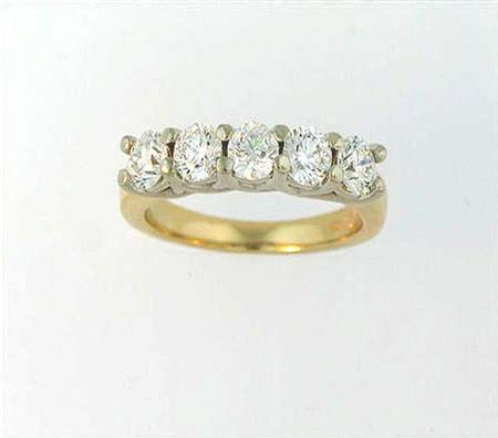 14k Two Tone Gold Diamond Wedding Band                      A36583