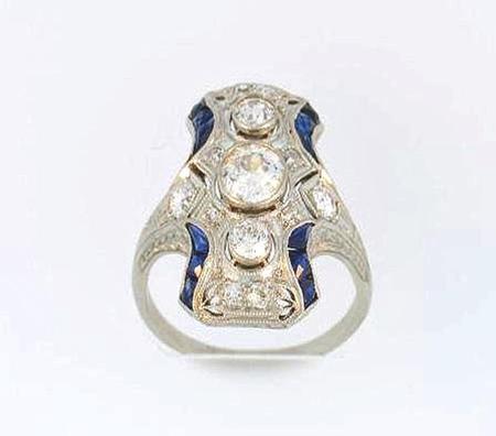 Platinum Art Deco with French Cut Blue Sapphires                  RH1907X