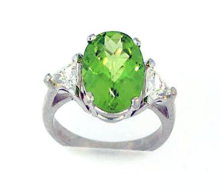 Platinum Checkerboard Cut Peridot Diamond Ring                              A35680