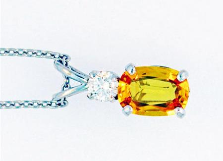 14k white gold pendant with yellow sapphire and one round diamond 14k white gold pendant with yellow sapphire and one round diamond a37106 aloadofball Image collections