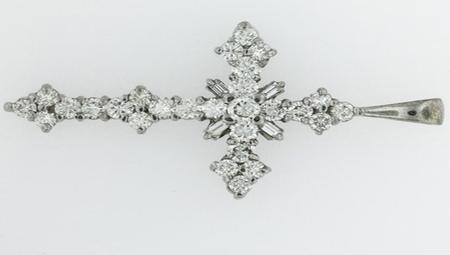 14kt White Gold Cross with 31 Diamonds             A37192