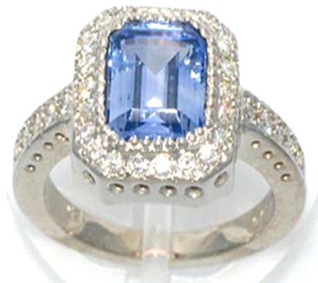 18k White Gold 2.65 Emerald Cut Ceylon Blue Sapphire Ring            A35455