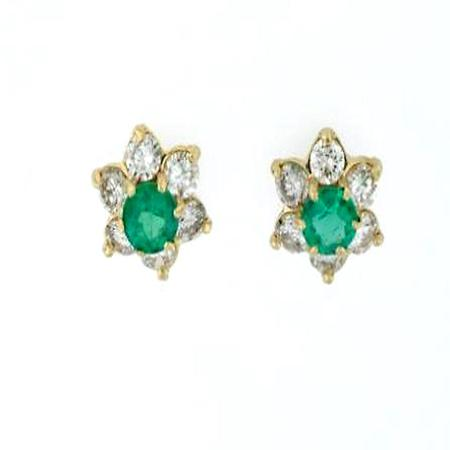 14k Yellow Gold Emerald and Diamond Earrings            18-00007