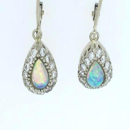 14k White Gold Opal Diamond Earring with lever-back             A35464