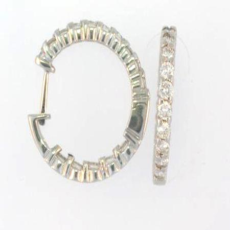 14k White Gold Diamond Hoop Earrings                A35837