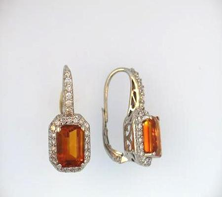 14k White Gold Emerald Cut Orange Citrine and Diamond Earrings             A36042