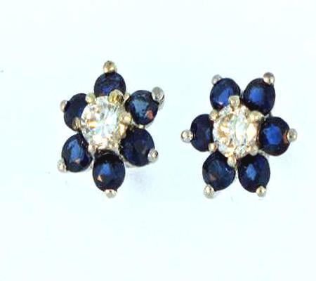14k White Gold Sapphire Diamond Earrings                   A36059