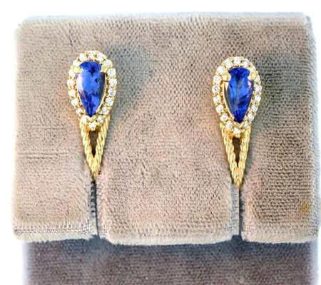 14k Yellow Gold Tanzanite Diamond Earrings                           A36543