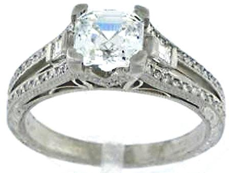 Platinum Diamond Hand Tooled Engraved Engagement Ring - Select Center Stone  F5061