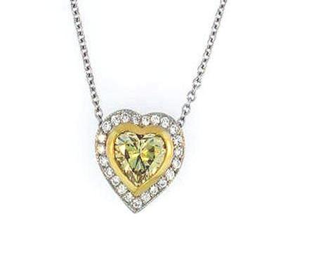 18k Yellow Gold/Platinum Yellow Diamond Heart Shape Pendant                 F1686