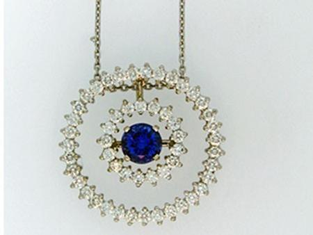 Custom Design Diamond Circle Pendant with Blue sapphire