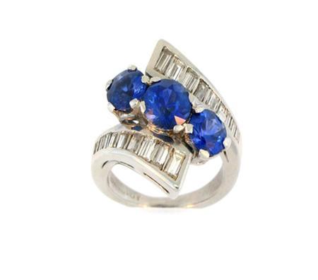 Platinum Diamond Blue Sapphire Ring                           83-00012