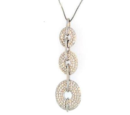 14k White Gold 3 Circle Diamond Pendant             40-00009