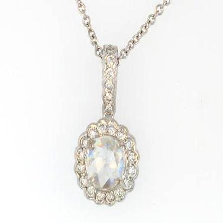 18k White Gold Rose Cut Diamond Pendant                   40-00011