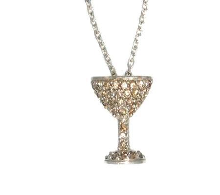 14k White Gold Champagne Glass Diamond Pendant                40-00014