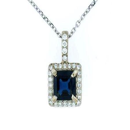 18k White Gold Diamond Sapphire Pendant                41-00008