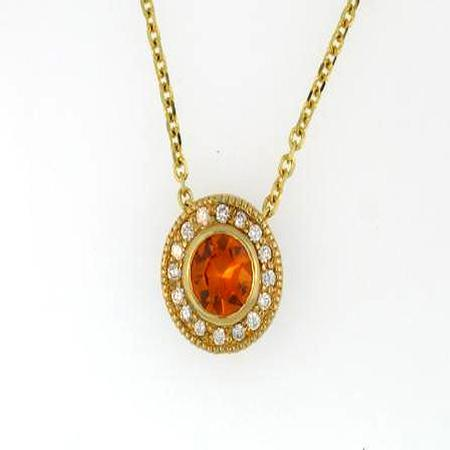 14k Yellow Gold Orange Sapphire Diamond Pendant                 A35237