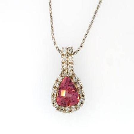 18k White Gold Tourmaline Diamond Pendant                A35307