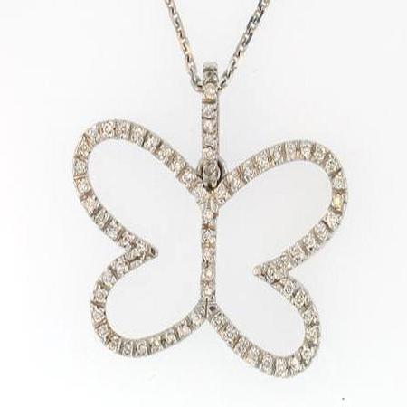 14k White Gold Diamond Butterfly Pendant                          F5104