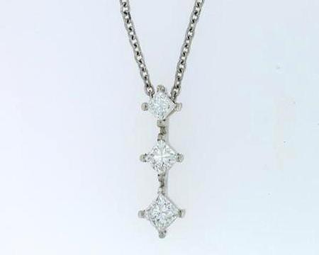 14k White Gold Princess Cut Diamond Pendant                  F51156