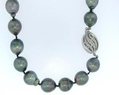 Tahitian Pearl Strand with 18k Yellow Gold Diamond Clasp             GMC