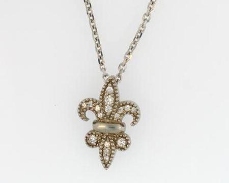 14k White Gold Fleur de Lis Diamond Pendant                  SB42