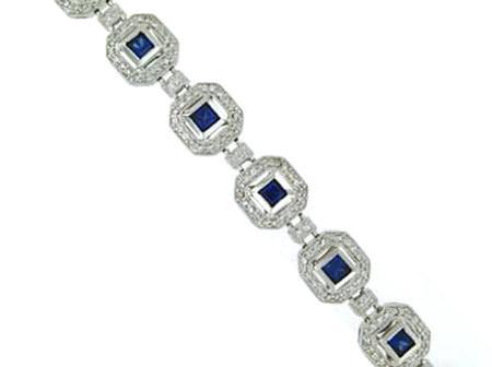 14k White Gold Diamond Sapphire Bracelet                  14-00008