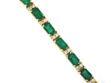 14k Yellow Gold Emerald Diamond Bracelet                    F4799