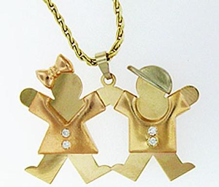 14k Tri-Color Gold Girl and Boy Pendant with Diamonds         XK462-466