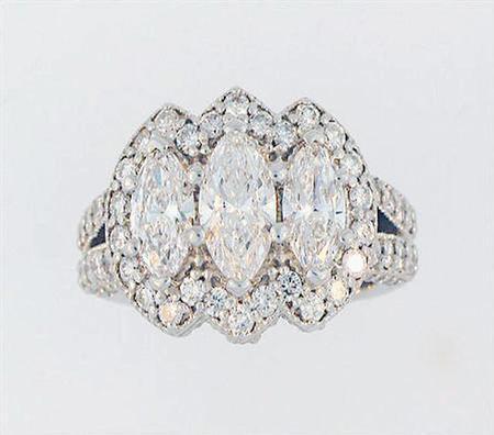 14k White Gold Marquise Diamond Wedding Band                    A36484