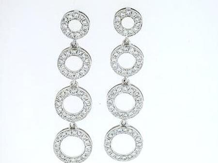 14k White Gold Circle Dangle Earrings    17-00018