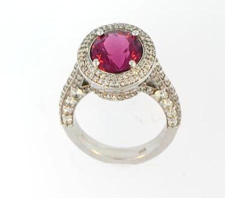 14k White Gold Tourmaline Diamond Ring    07-00027