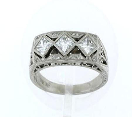 Platinum Hand Tooled 3 Princess Cut Diamond Band   F5158