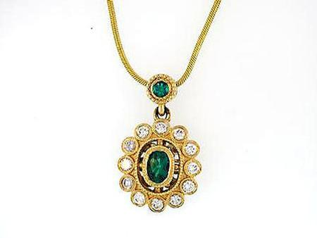 14k Yellow Gold Emerald Diamond Pendant                        F5155
