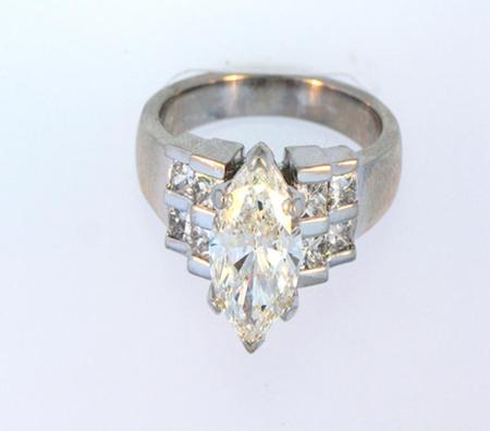 14kt White Gold Marquise cut Diamond Engagement Ring                  A35858