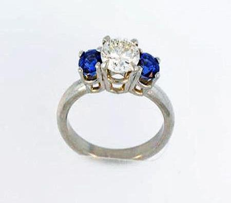 Platinum Diamond Sapphire Engagement Ring  F4865/01-00055