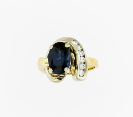 14kt Two Tone Fashion Ring shown with a Ceylon Blue Sapphire       A35859